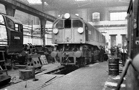 36001 inside Brighton works during February 1949. photograph: Mike Morant collection.