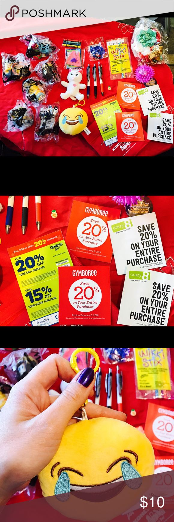 Big lot for kids + coupons Big lot for your kids! Everything New ! Plus 6 coupons for Children stores:  20% and 15% off at OshKosh store, exp. Jan 2018. 2 coupons Crazy8 20% each, exp. Feb.2018. 2 coupons Gymboree 20% each, exp. Feb.2018. Build a Bear workshop small kitty, with tshirt set. Emoji happy key ring, Light up ball, Wikki stix set, Christmas bows set,  other 6 toys, 3 new ZGrip pens, and more other ... everything New! $10 for All!  Fast Priority mail shipping with tracking number…