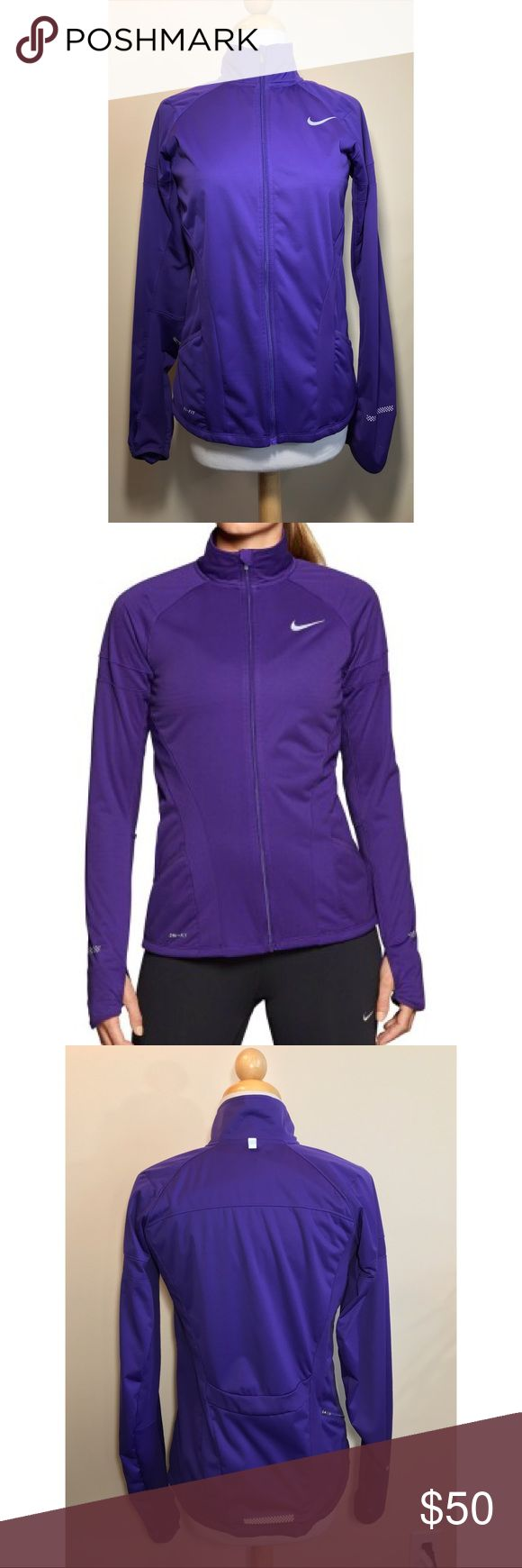Nike Element Shield Full Zip Womens Running Jacket Gently used Nike Women's Running Jacket in purple. Bike Description -  Sphere Dry fabric to wick sweat away, reducing cling and helping you stay dry and comfortable Laminate finish to help protect against wind Dri-FIT fabric to wick away sweat and help keep you dry and comfortable Thumbholes for enhanced warmth Back zip pocket for secure storage Nike Jackets & Coats