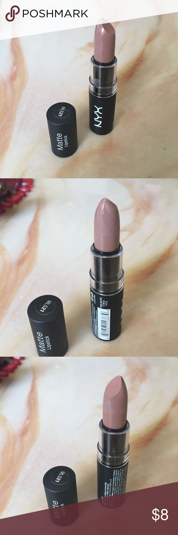 NYX matte lipstick NYX Matte Lipstick. MLS21 Color is Butter Beurre. Never used. Has a knick on the side as shown in the photos. Feel free to bundle with other items in my closet!  I have other colors in my closet in the nude series! NYX Makeup Lipstick