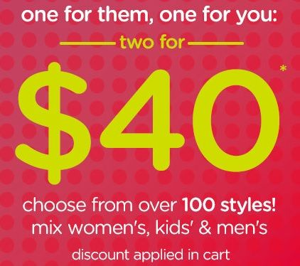 Crocs.ca: Two for $40! (Today Only) http://www.lavahotdeals.com/ca/cheap/crocs-40-today/52156
