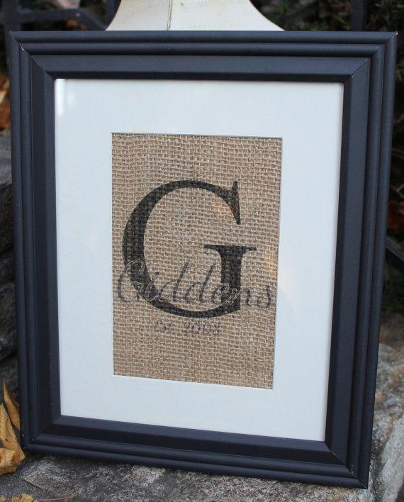 Burlap Print Monogram Name and Established Date by ToadstoolPond, $28.00