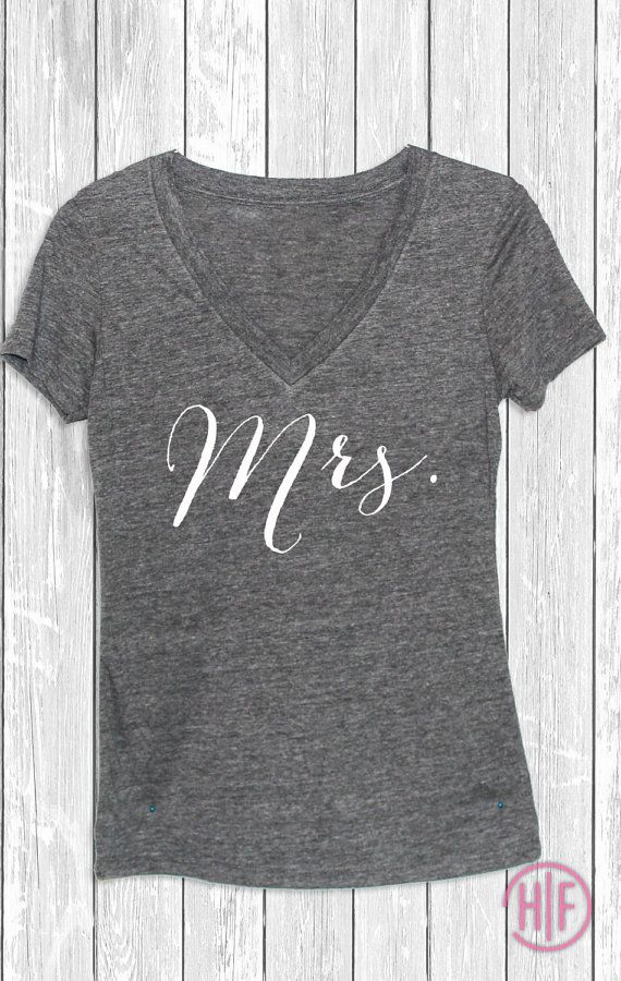 Lovely Deep V Mrs Tank  Tee available in: Premium heather  Text Color: White  Material: Preshrunk 50% polyester/25% cotton/25% rayon jersey