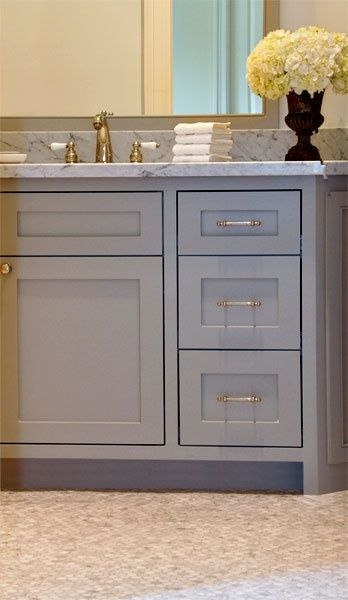 Gray bathroom vanity; Design and color inspiration; Nice hardware
