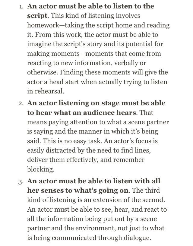 Listening and Reacting - Acting Tips and Exercises - Educational Theatre Organization