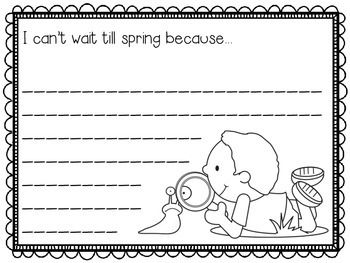 Spring Writing Prompts - 21 different prompts to celebrate spring! Use at a writing center and then make a fun bulletin board.