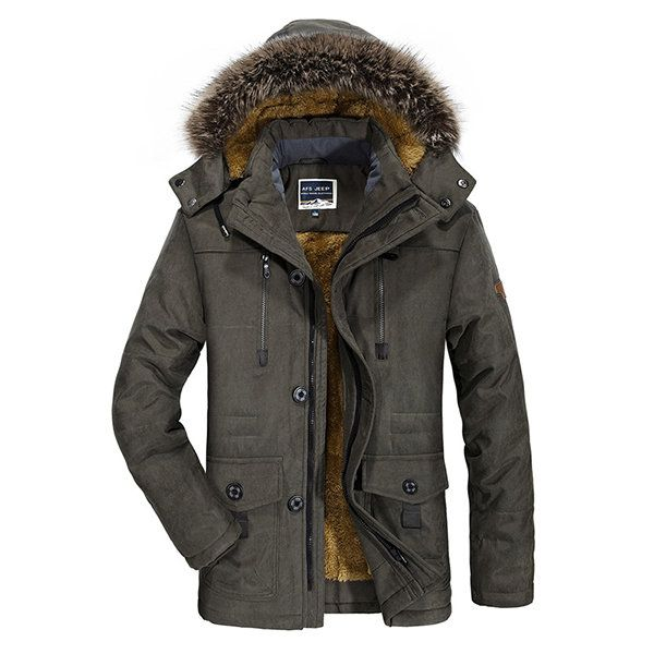 Plus Size Winter Thicken Detachable Hood and Fur Collar Jacket for Men