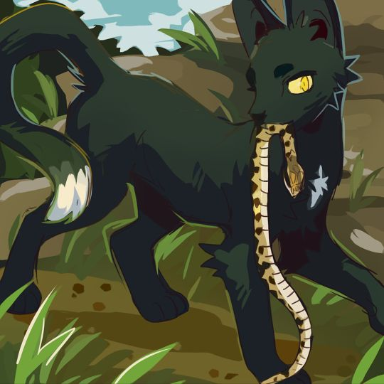 Ravenpaw killing the adder after Tigerclaw sent him to Snake rocks in the hopes that he would get bit by one of the snakes