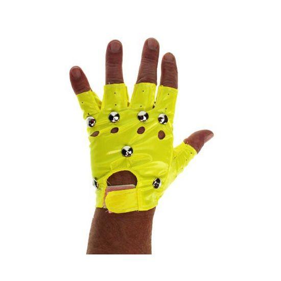 Neon gele punk handschoenen. Knalgele punker handschoenen voor volwassenen.