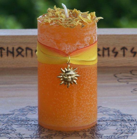 Summer Solstice:  SUNNA Sun Goddess Pillar Candle with Golden Sun on Hannah Silk, Sunflower Petals for Norse Magic, Seidr, #Summer #Solstice, by ArtisanWitchcrafts,