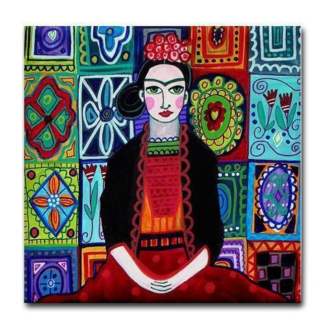 TALAVERA TILES - Frida Kahlo Art - Mexican Folk Art Ceramic Tile - Gift COASTER - Wedding Gifts. $20.00, via Etsy.