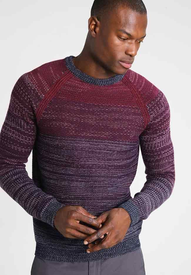 Herenmode, Sisley trui met ronde hals en een kleurverloop patroon.