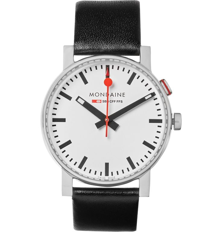 It's over 30 years since <a href='http://www.mrporter.com/mens/Designers/Mondaine'>Mondaine</a> took the blueprint for Mr Hans Hilfiker's official Swiss railway clock and turned it into a watch collection, but the design looks as modern as ever. This latest version of the 'Evo' is designed with a monochrome face, classic indexes, polished stainless steel casing and a leather strap. The in-built alarm feature will suit thos...