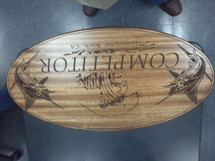 Student Sign Project in Sapele from Cerritos College WMT 185 CNC Woodworking course.