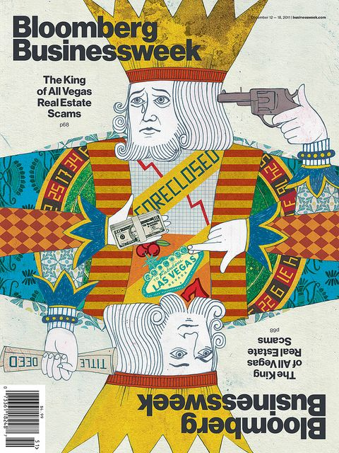 Bloomberg Businessweek  — The King Of All Real Estate Scams  Illustration by Barry Falls