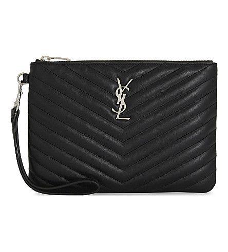 SAINT LAURENT Monogram Quilted Leather Wristlet Pouch. #saintlaurent #purses & pouches