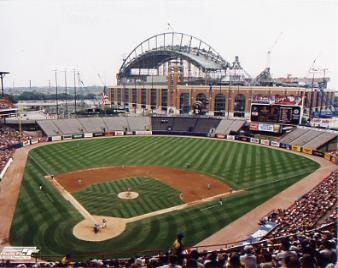 MILWAUKEE COUNTY STADIUM with new MILLER PARK in background