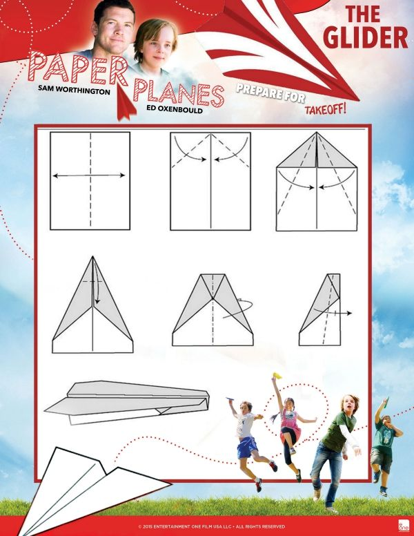 free printable glider paper airplane tutorial kids crafts and activities pinterest free. Black Bedroom Furniture Sets. Home Design Ideas