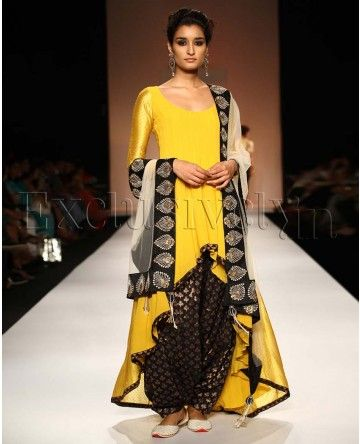NOOR SUNSET YELLOW HIGH LOW SUIT WITH BLACK PATIALA SALWAR By Summer Bride by Payal Singhal