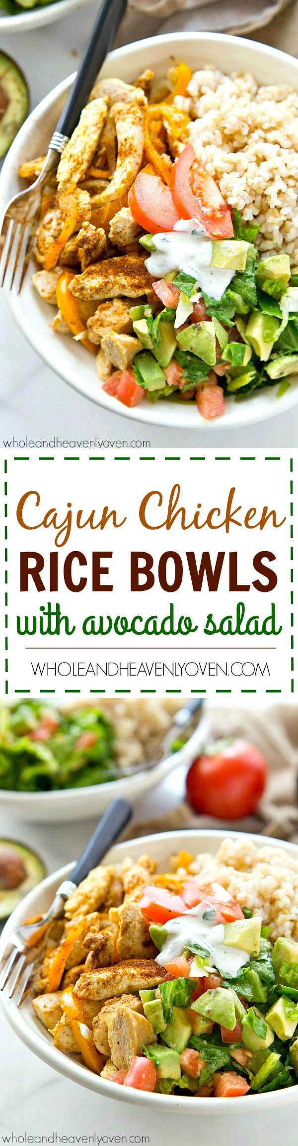 295 best healthy chicken recipes images on pinterest cooking food zippy cajun rubbed chicken hot rice and an amazing fresh avocado salad come together in these beautiful and easy to throw together healthy rice bowls forumfinder Image collections