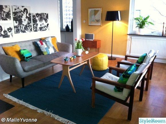 yesterday soffa,gula väggar,fåtöljer,soffbord,carl malmsten,vardagsrum