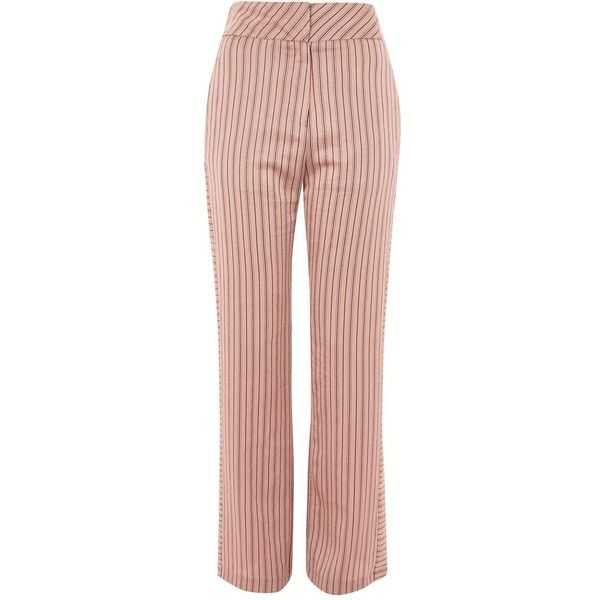 TopShop Stripe Slouch Trousers ($85) ❤ liked on Polyvore featuring pants, capris, blush, slouch pants, slouchy trousers, striped trousers, retro pants and topshop trousers