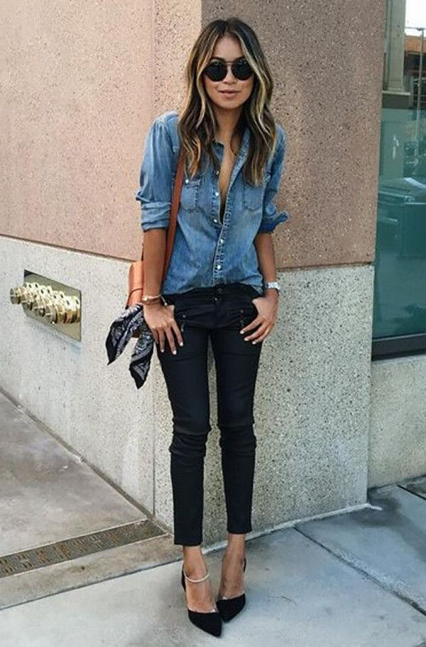 Best 25  Denim shirt outfits ideas on Pinterest | Chambray outfit ...