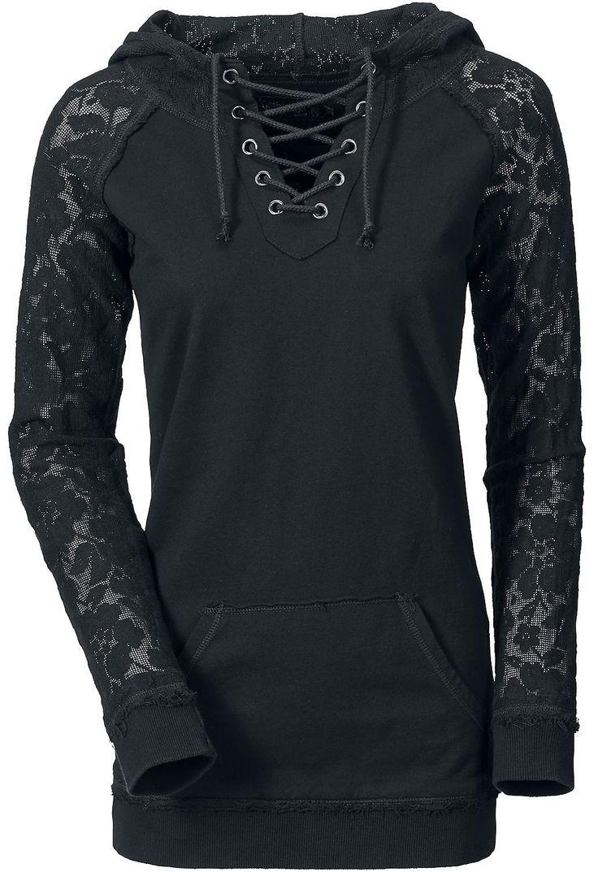 black hoodie with lace sleeves.