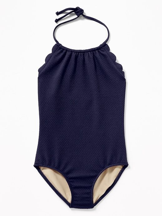 4f91203b193ec Old Navy Girls' Textured Scalloped-Edge Halter Swimsuits Lost At Sea Navy  Size XXL
