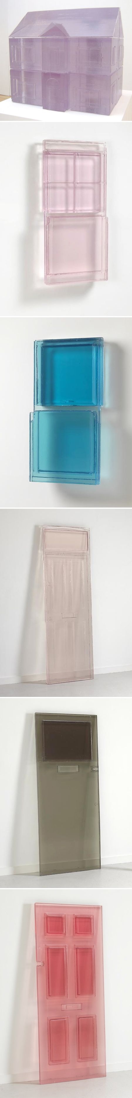 """Rachel Whiteread ~ Long Eyes """"…revisits the subject of doors and begins a series of windows, using resin as her medium. She casts the front and back of each object and merges them to create an inverse of the original. The translucent nature of the resin imbues these pieces with a lightness which belies their mass, and Whiteread has chosen colors evocative of light in relation to the passage of time."""" ~ luhringaugustine.com"""