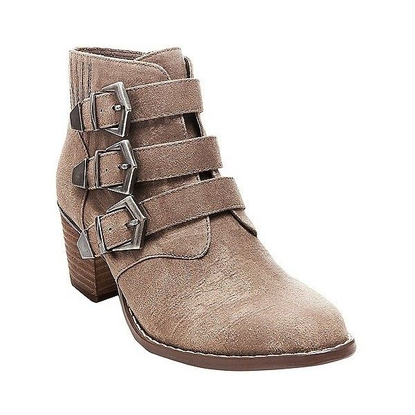 Betseyville Women's Supagal Triple Buckle Ankle Boots ($50) ❤ liked on Polyvore featuring shoes, boots, ankle booties, brown, buckle booties, short brown boots, brown bootie, brown booties and brown boots