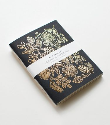 For the Lover of Little Luxuries: Gold Foil Pocket Notebooks by Rifle