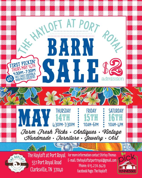 The hayloft at port royal spring 2015 barn sale - Craigslist tennessee farm and garden ...