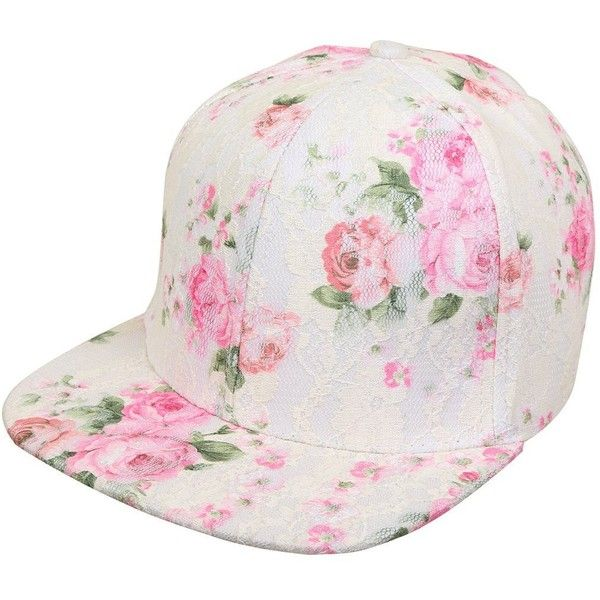 Funky Junque's White Pink Floral Pattern Lace Rose Flat Bill Snapback... (€17) ❤ liked on Polyvore featuring accessories, hats, pink cap, flat bill snapback, floral cap, snapback cap and white flat bill hats