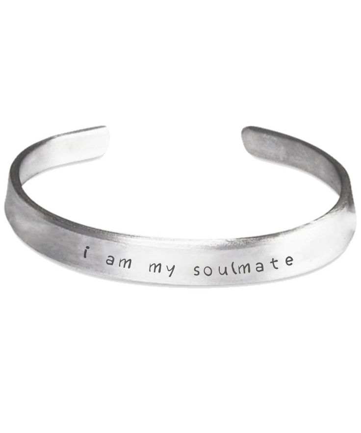 I Am My Soulmate Stamped Bracelet by MidgesDaughter on Etsy