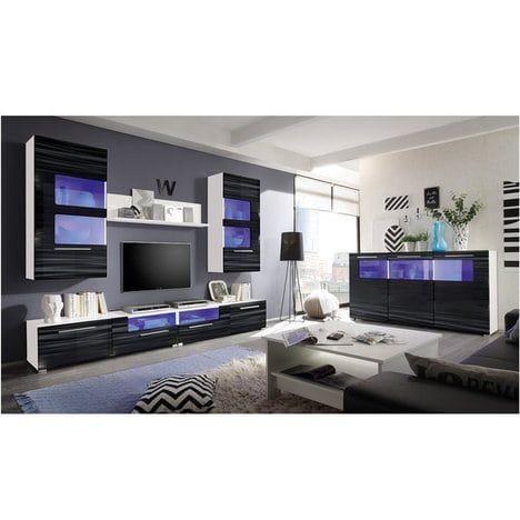 Wohnwand CORNER   Weiß Schwarz Hochglanz   Blaue Beleuchtung 2 Lowboards U0026  1 Wandboard 2