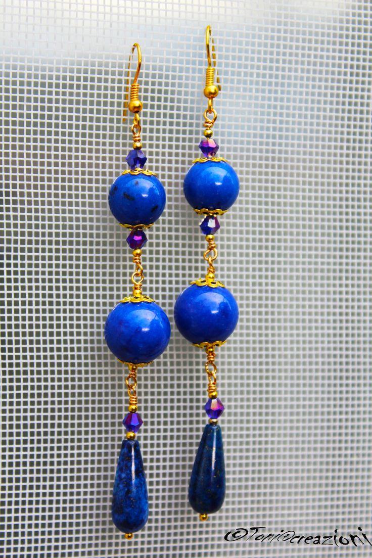 #orecchini in #lapislazzuli e #cristalli