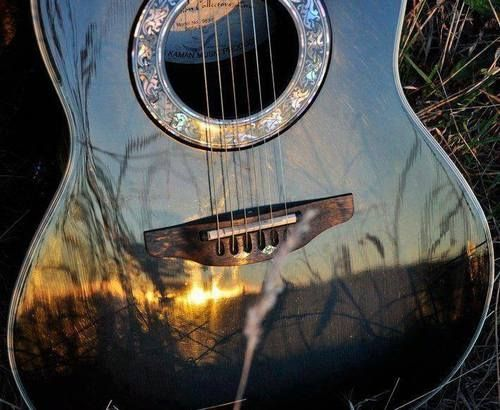 Guitar reflection music outdoors sun trees country guitar reflection