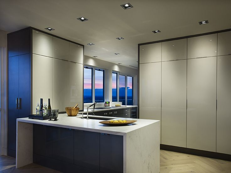 Showcase signature suite at Atmosphere at 300 Front St W. Kitchen designed and installed by Irpinia Kitchen #irpiniakitchen. Marble countertops by Ciot #ciotcanada. Kitchen appliances by Gaggenau appliances #gaggenau. Ceiling light fixtures by Eureka Lighting #eureka.