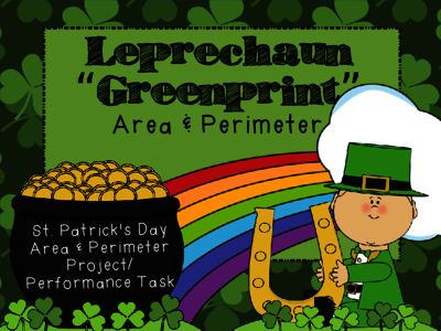 """St.Patrick's Day Area & Perimeter- """"Greenprints"""" for a Leprechaun house from PrintablePrompts on TeachersNotebook.com -  (23 pages)  - St.Patrick's Day Area & Perimeter project/ performance task. Includes materials to design """"greenprints"""" for a leprechaun house and calculate area & perimeter. (&couple of extension activities!)"""