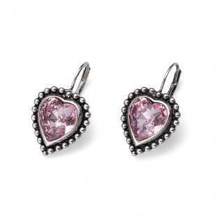 Oliver Weber Women lovely pink earrings antique heart with Swarovski Crystals