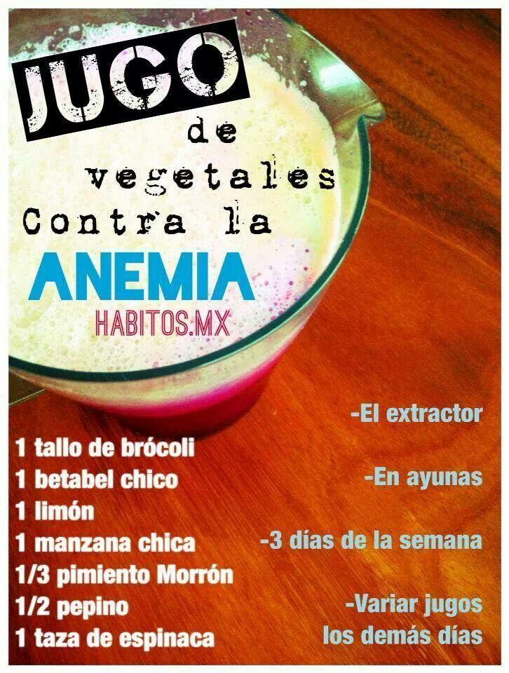 Jugo verde para la anemia!!La anemia se va con una buena dosis de hierro!Este jugo tiene alto contenido de hierro, lo que lo convierte en un súper apoyo para la sangre! Es increíble lo poderosas que son los greens, las verduras y frutas!! A tomar este jugo y decirle adiós a la anemia!!!