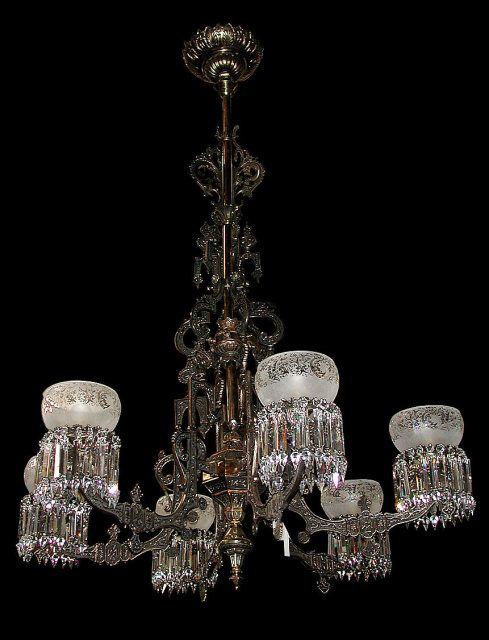 Monumental American 6 arm gas bronze & cast iron chandelier with etched  glass shades crystal prisms - 148 Best Antique Lighting Images On Pinterest Antique Lighting