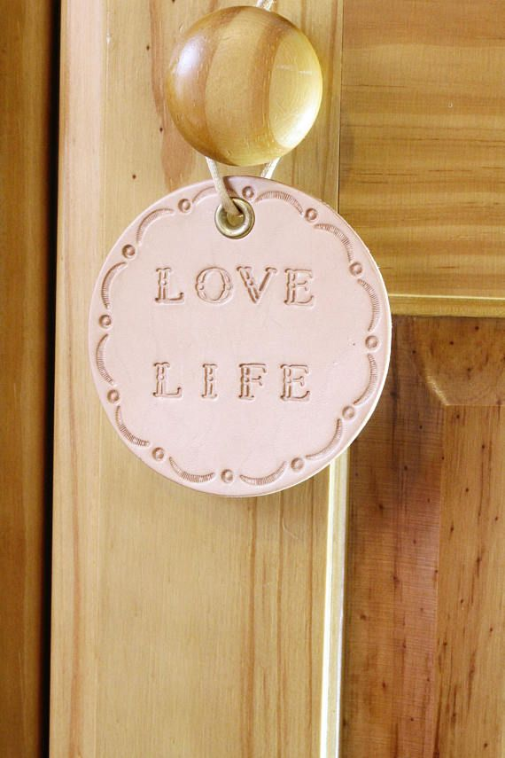 Love Life Wall Hanging, Inspirational Leather Wall Decoration by Tina's Leather Crafts on Etsy.com. Shop Now or Repin To Remember.