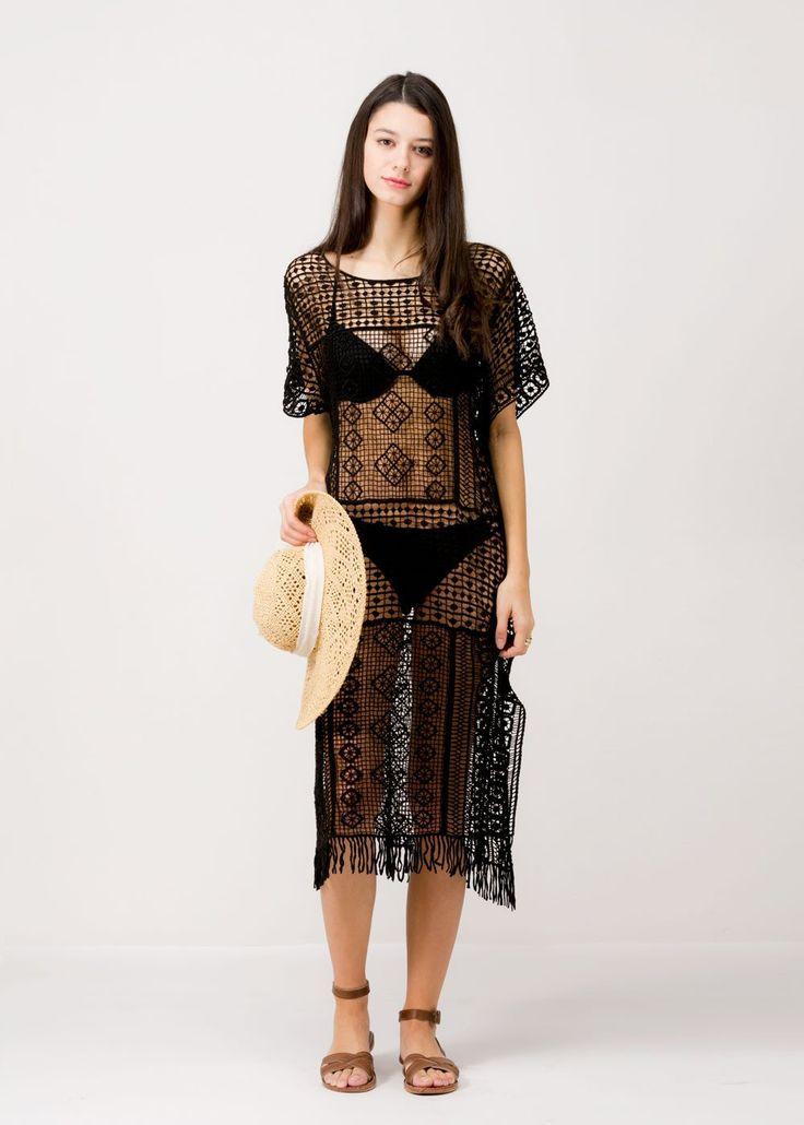 Long Crochet Tassel Cover Up 7