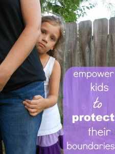 Empowering kids to protect their boundaries! Parents shouldn't force their kid to kiss a grown-up goodbye, or hug another child when they aren't comfortable! Great article.