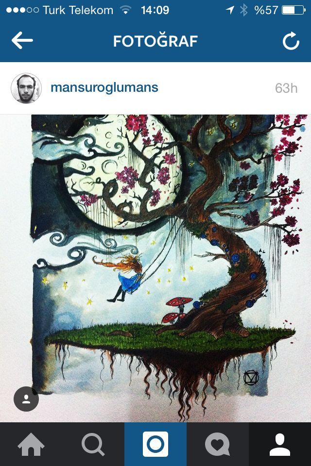 #draw #drawing #sketchbook #ıllustrasyon #illustration #moon #star #tree #character #cherry #sky #cloud #magıc #mushroom #ay #salıncak #kiraz #ağaç #turuncu #kız #bulut #gökyüzü #me #follow  #turuncu #ay #kiraz #mantar #uçmak