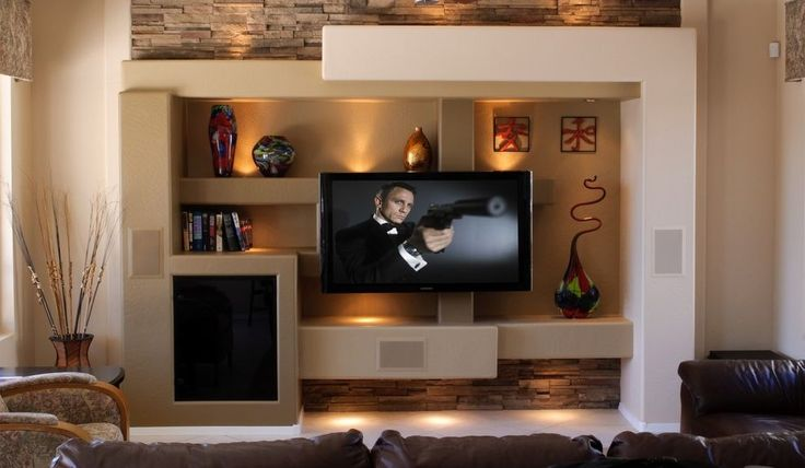 Épített egyedi médiafal ötletek nappaliba - szép és érdekes látványelemek