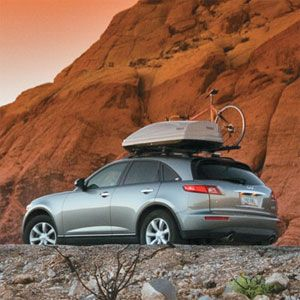 Thule roof bike rack and a cargo box to hold more gear