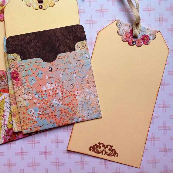 Large journaling tags with library card pocket: journal